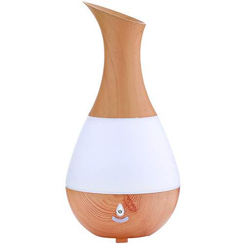 EDANQ Luftbefeuchter Für Therische Aromatherapie, Mit 7 Farbe Licht Vintage Raumbefeuchter Duftlampe BPA-Free Für Wohnung Schlafzimmer, 235Ml Flaschenform,Light Wood Grain,Bluetooth