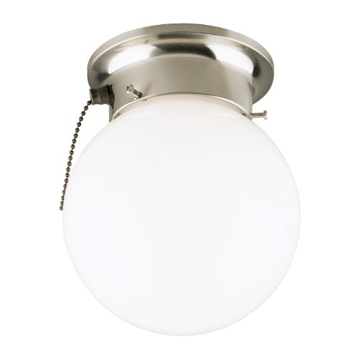 Westinghouse 6720800 One-Light Flush-Mount Interior Ceiling Fixture with Pull Chain, Brushed Nickel Finish with White Glass Globe