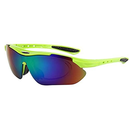 Gyj&mmm Gafas Deportivas, Gafas de Sol a Prueba de Viento Gafas de Bicicleta Unisex Gafas para Exteriores para Ruedas, Correr y Deporte al Aire Libre,Grüner rahmen grüner Film