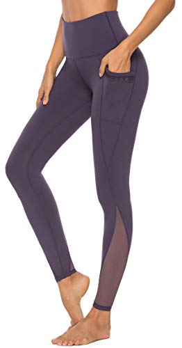 Persit Yoga Leggings Damen, Sporthose Yogahose Sport Leggins Tights für Damen Violett-L