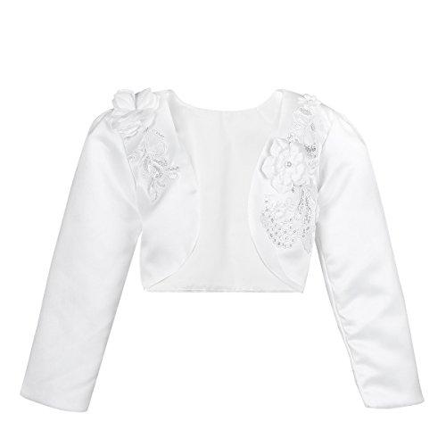 iiniim Boléro Bébé Enfant Fille Manche Longue en Satin Fleur 3D Cardigan Veste Mariage Baptême Communion Ivoire Beige Rose Taille 9 Mois-10 Ans (7-8 Ans, Blanc)