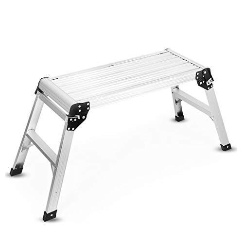 LRZLZY Folding Arbeitsbühne Hop Up Schritt Hocker, 2 Step Aluminium Step Up Arbeitsbank, Anti-Rutsch-faltbares Design, 330lb Kapazität - Silber