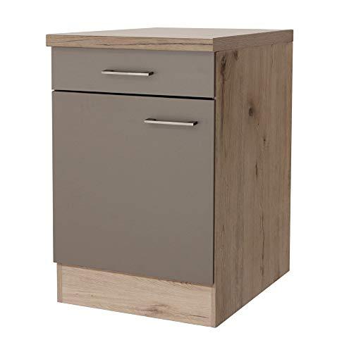 Smart Möbel Unterschrank ohne Arbeitsplatte 60 cm Quarz-Cubanit/San Remo Eiche hell - Rodello