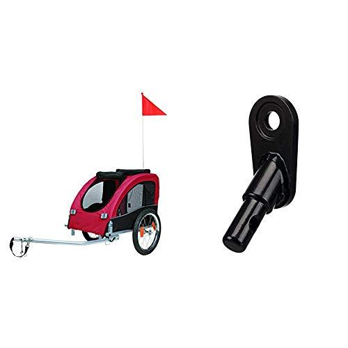 TRIXIE 12814 Fahrrad-Anhänger, M: 63 × 68 × 75/137 cm, schwarz/rot & 12819 Anhängerkupplung für Fahrrad-Anhänger