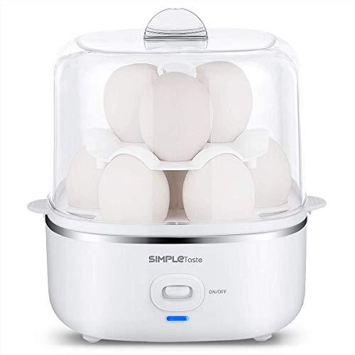 SimpleTaste Eierkocher Elektrische für Harte Weiche Gekochte Eier, Pochierte Eier, Omelettes und Dampfgarer mit Automatischer Abschaltfunktion und 2 Stufen für 10 Eier, für Familien mit Kinder