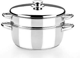 Monix Optima - Olla Vapor 24 cm, con Tapa de Acero Inoxidable 18/10, Apta para Todo Tipo de cocinas incluídas de inducción