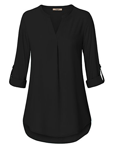 Timeson Womens Shirts and Blouses,Black Chiffon Blouse for Women Work Women's Casual Long Sleeve Tunics Shirts for Fall Summer Office Wear Professional Attire Collared Sheer 3/4 Sleeve V Neck