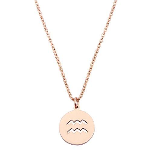 KUIYAI Zodiac Pendant Necklace Rose Gold Disc Horoscope Necklace Birthday Gift (Aquarius RG)