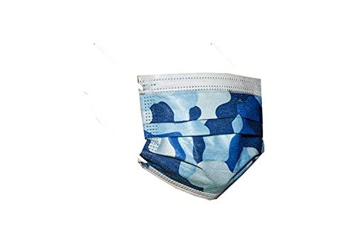 Mascherine chirurgiche da bambino - 100 mascherine da bambino confezionate in pacchetti da 10 (Mimetico Blu)