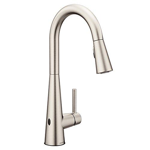 Moen 7864EWSRS Sleek Reflex Motionsense Wave Sensor Touchless One Handle High Arc Pulldown Modern Kitchen Faucet Featuring Power Clean, Spot Resist Stainless