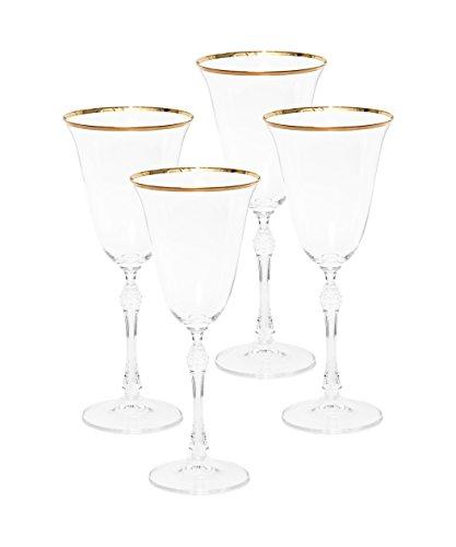 Italian Collection Crystal 12 Oz 'Vanessa' Water Beverage Goblet Glasses, 24K Gold Rim, Vintage Design