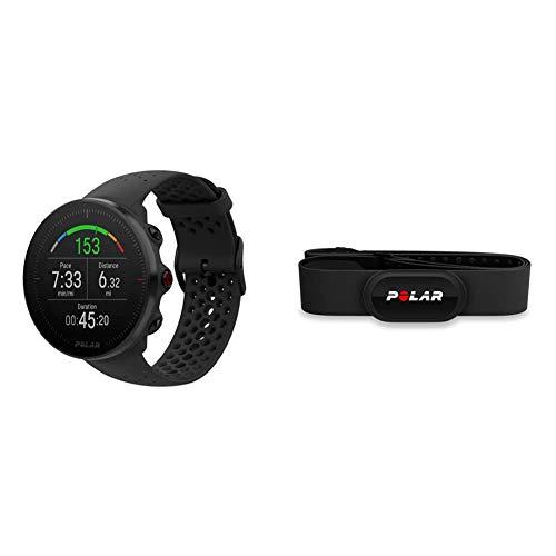 Polar Vantage M – Allround-Multisportuhr mit GPS und optischer Pulsmessung am Handgelenk & H10 Herzfrequenz-Sensor, Schwarz, M-XXL, Bluetooth, EKG, Wasserdichter Herzfrequenz-Sensor mit Brustgurt