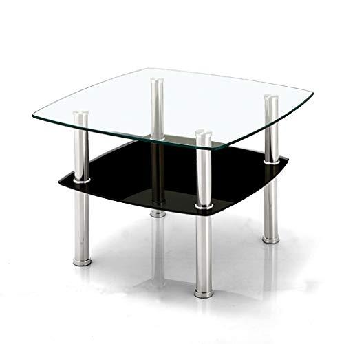 NYKK Mesa de Centro Elegante Mesa de Centro Minimalista de Vidrio Doble Sala de Estar Pequeña Mesa Cuadrada Mesa de sofá Mesa de Centro Multicolor Opcional (Color : Black)