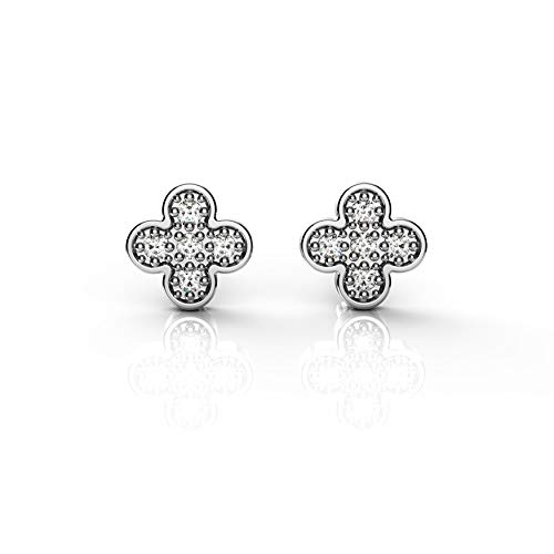 Belle Queen 'Dream Collection' - Sterling Silver Rhodium-Plated Earrings for Women Including Zirconia Stones - 7x7mm