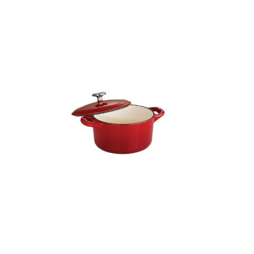 Tramontina 80131/056DS Enameled Cast Iron Covered Small Cocotte, 24-Ounce, Gradated Red