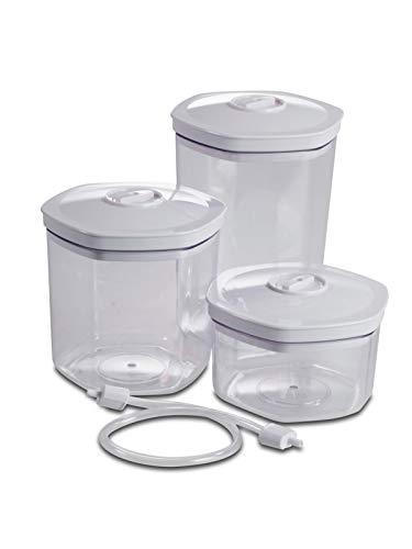 Solis Vakuumierbehälter-Set, 3 Stück, 700/1400/ 2000 ml, Sechseckig, Vakuumieren/Marinieren