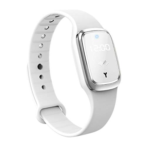 BBQAQ Electronic Anti-Mosquito Wristband Watch, Ultrasonic Anti-Mosquito Watch for Kids and Adults with USB Rechagerable (White)
