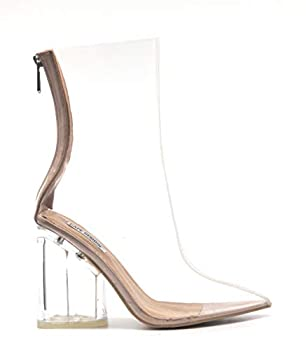 Cape Robbin Crystal Glaze Womens Perspex Lucite Clear Pointy Toe Chunky Heel Ankle Boots,Nude,8