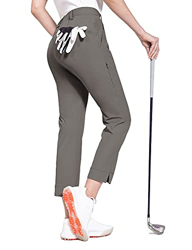 BALEAF Women's Golf Pants Stretch Lightweight Quick Dry Water Resistant Work Pants with Zipper Pocket Steel Grey Size S