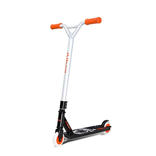 Albott Kids Youth Freestyle Kick Scooter, Pro Stunt Scooter for Beginners, High Impact 100mm Wheels, Bike-Style Grips, Lightweight Aluminum Deck (Bright Orange)