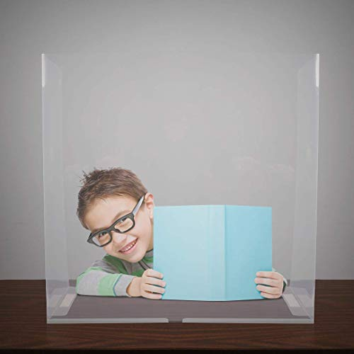 Portable Desk Shield Sneeze Guard - a freestanding Folding Plastic Barrier Designed as a Protective Shield for School desks and Office Tables to Help Guard Students and Teachers in The Classroom