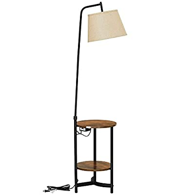 VASAGLE End Table with Lamp, Floor Lamp with Storage Shelves and Lamp Shade, Bedside Table, Steel Frame, Industrial, for Bedroom, Rustic Brown and Black ULFL060B01