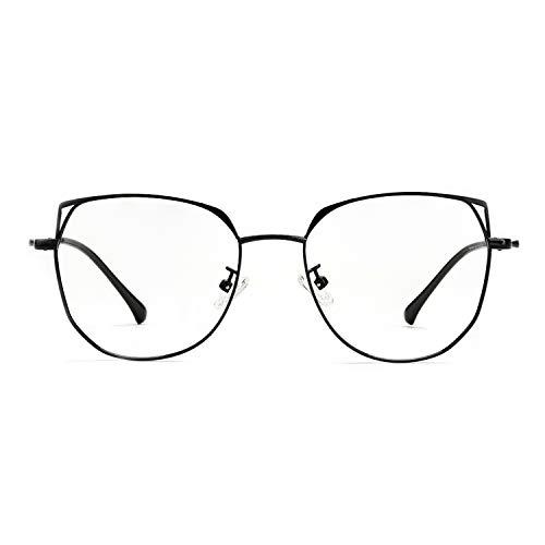 Zinff Veiligheidsbril tegen blauw licht, UV-400, tegen vermoeidheid van de ogen, anti-reflecterende bril, licht, metaal, kattenoog, chique design voor beeldscherm/computer/telefoon