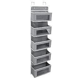grey over-the-door storage baskets