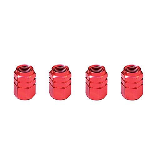 Nicejoy Casquillos De Válvula del Neumático, Tapas De Válvula De Aluminio, (Paquete De 4) para Bicicletas/Moto/Coche - Rojo