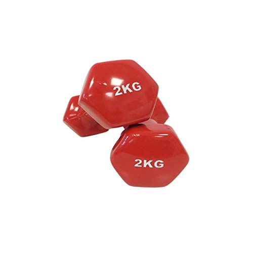 Natural Logistics Par de Mancuernas de Vinilo Fitness. 1 a 6 KG Unidad. Kottao (Rojo, 1Kg)