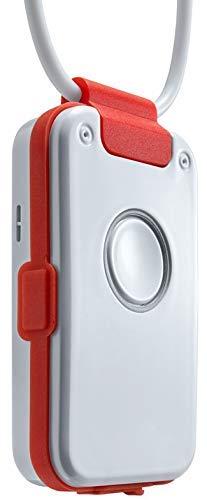 Hausnotruf/Notrufknopf ohne Vertrag mit Sturzmelder, Freisprechtelefon, Notruftelefon, Rauchalarm-Melder, für Senioren - Dosch&Amand DA1432 Pro (rot)