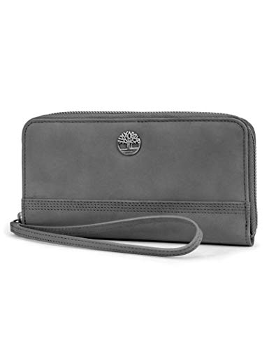 Timberland womens Leather RFID Zip Around Wallet Clutch with Wristlet Strap, Castlerock (Nubuck),One Size