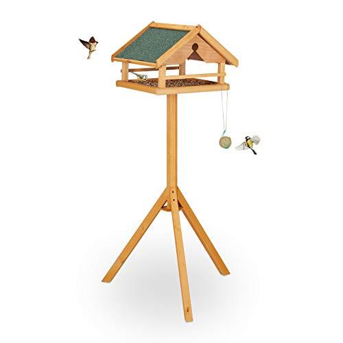 Relaxdays Vogelfutterhaus mit Ständer, groß, wetterfestes Dach, Garten, Holz Vogelhaus HBT 120 x 62 x 55 cm, Natur/grün