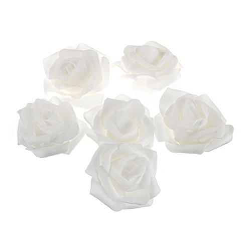 ROSENICE 50 Stück künstlichen Schaum Rosen Blumen für zu Hause Hochzeitsdekoration (weiß)
