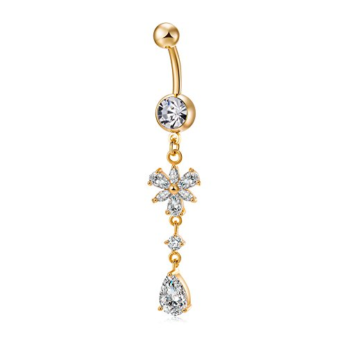 Elegante anillo de ombligo de diamante con circonita
