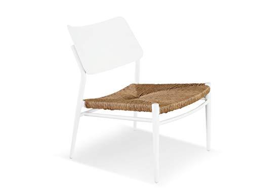 LANTERFANT – Loungesessel Juliën, Gartensessel, Gartenstuhl, Relax Sessel, Rattan-Look, Aluminium, Weiß