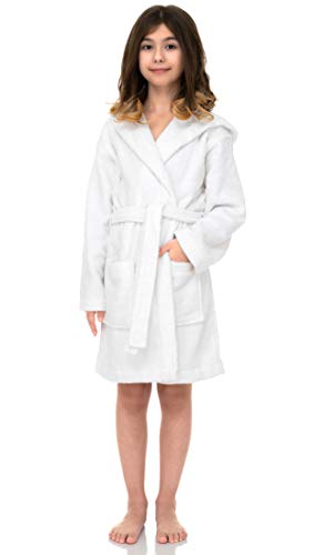 TowelSelections Hooded Kids Bathrobe - Terry Cloth Robe for Boys and Girls, 100% Egyptian Cotton, Made in Turkey, White, Large