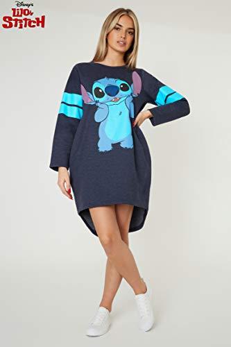 Disney Vestidos Mujer Casual de Lilo y Stitch, Jersey Largo Mujer, Vestido Mujer de Manga Larga, Regalos para Mujer y Adolescente Talla S-XL (Azul, L)