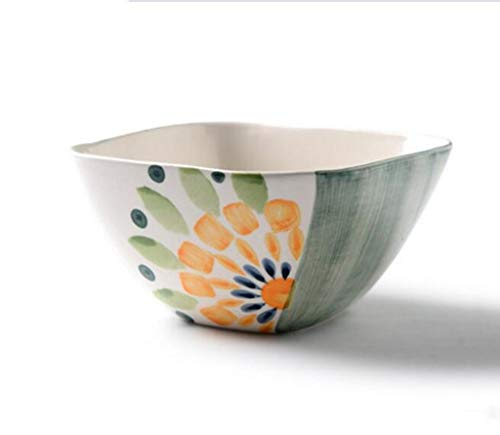 CAIJINJIN Tazón Ensaladera, pintado a mano de impresión cerámica creatividad cuadrado de estilo occidental verduras fruta Ensaladera Soup Bowl Ensaladera Bol Occidental fuente alimentaria 16x8.5cm