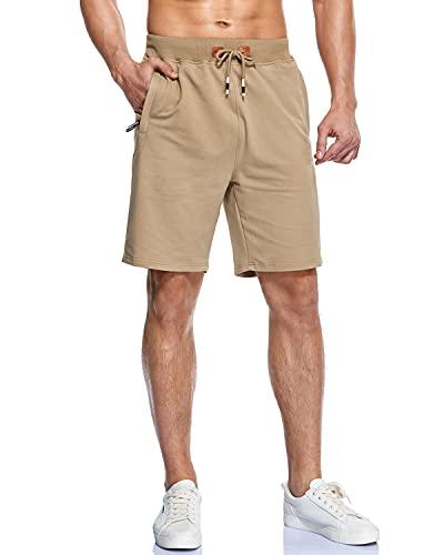 YnimioAOX Men's Shorts Casual Workout Sports Shorts with Zipper Pockets (A6-Khaki, 40)