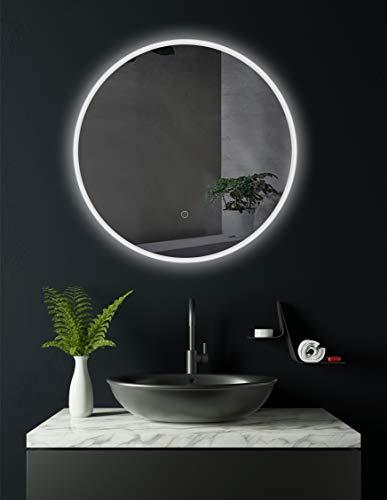 HOKO® Runder Bad Spiegel, LED beleuchtet Bremen 80cm rund, Badezimmerspiegel mit Licht rundum, Energieklasse A+ (WEEE-Reg. Nr.: DE 40647673)