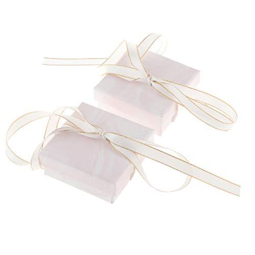 freneci 2 Stück Modeschmuck Geschenkbox mit Schleife Band Papierbox für Halskette - Weiß, 7x7x3cm