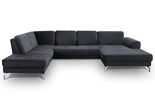 CAVADORE Wohnlandschaft Benda / Große Sofagarnitur mit XL-Longchair rechts & Federkern / Inkl. Sitztiefenverstellung / 332 x 87 x 226 / Samt: dunkelblau