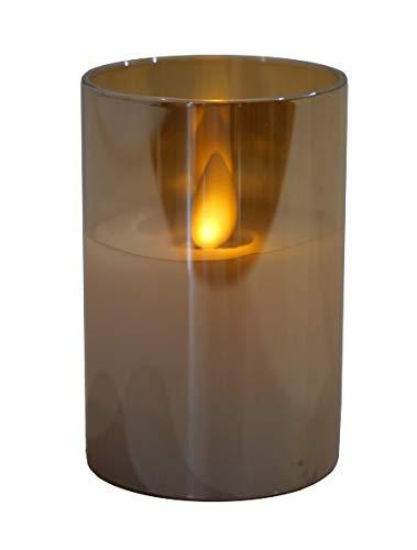 Hochwertige & Edle LED Kerze im Glas - Realistisch Flackernd - Neuartiges Design (Amber, Höhe: 7,5cm - Ø 5cm)