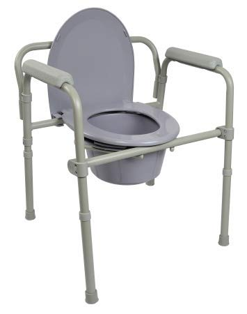Commode Chair, Folding Steel Frame, Seat Lid Back, Fixed Arm, 350 lb. Capacity, 7.5 Quart Bucket -  Drive Medical - McKesson