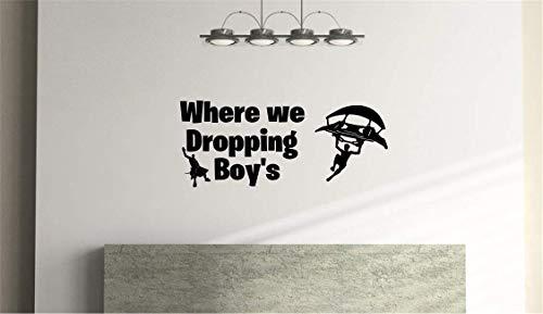 Waar we Dropping Jongens, Kids Slaapkamer, Games Room Vinyl Muursticker (57cm x 25cm)