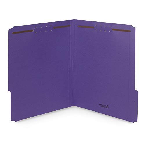 50 Purple File Folders with Fasteners, 1/3 Cut Reinforced Tab, Durable 2 Prong Fastener File Folder, Designed to Organize Standard Medical Files, Law Client Files, Office Reports, Letter Size, Purple