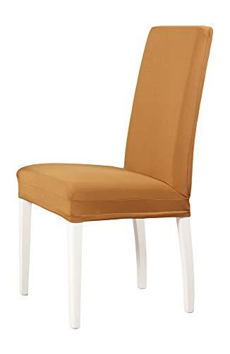 2-er Set Jersey Stuhlhusse | Elastische Stretch-Hussen | Stuhlhussen in Markenqualität | Elegante Stuhlbezüge | Sand