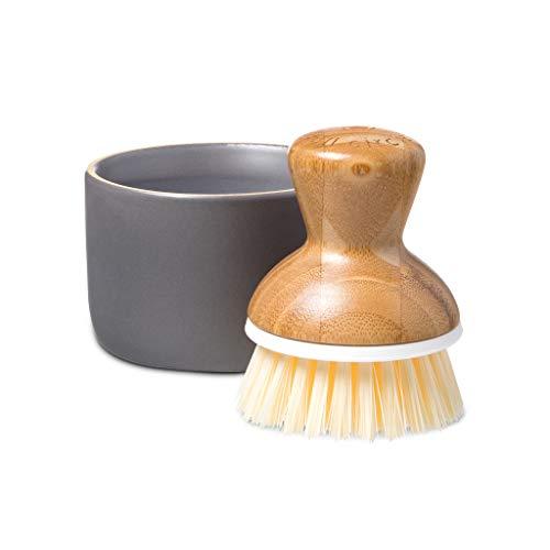 Product Image of the Full Circle Bubble Up Ceramic Soap Dispenser & Bamboo Dish Brush, White/Gray
