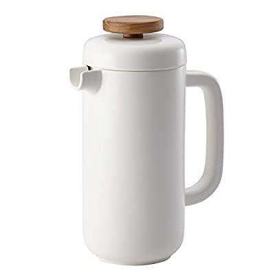 BonJour Coffee & Tea Ceramic French Press Coffee Maker, 8-Demitasse-Cup, Matte White